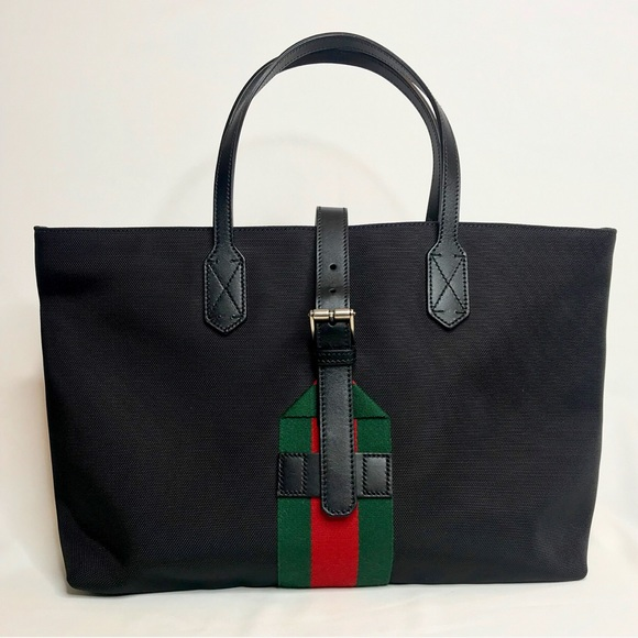 491ec8846556 Gucci Bags | Web Techno Black Canvas Tote Bag | Poshmark